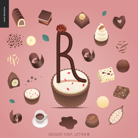 Dessert font - letter R - modern flat vector concept digital illustration of temptation font, sweet lettering. Caramel, toffee, biscuit, waffle, cookie, cream and chocolate letters