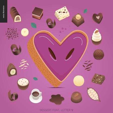 Dessert font - letter V - modern flat vector concept digital illustration of temptation font, sweet lettering. Caramel, toffee, biscuit, waffle, cookie, cream and chocolate letters