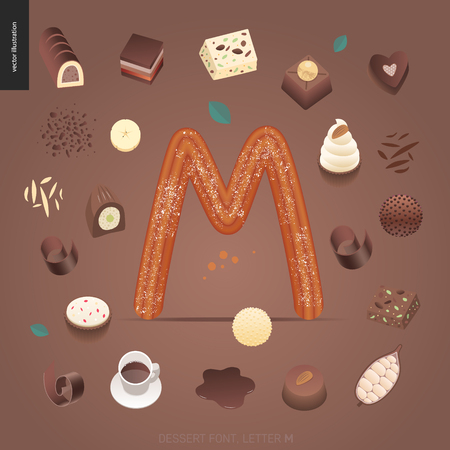 Dessert font - letter M - modern flat vector concept digital illustration of temptation font, sweet lettering. Caramel, toffee, biscuit, waffle, cookie, cream and chocolate letters
