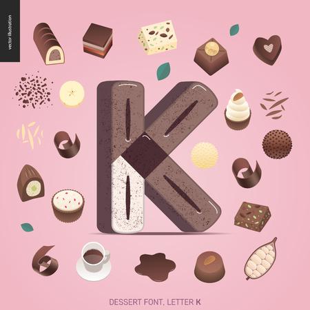 Dessert font - letter K - modern flat vector concept digital illustration of temptation font, sweet lettering. Caramel, toffee, biscuit, waffle, cookie, cream and chocolate letters