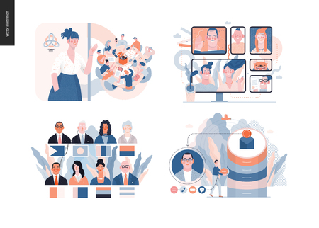 Technology 3 set - modern flat vector concept digital illustration- Video Conferencing Technology, Meet our team, CRM Customer Relationship Management, Political leaders meeting. Creative web template  イラスト・ベクター素材