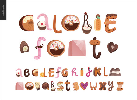 Dessert font - modern flat vector concept digital illustration of temptation font, sweet lettering. Caramel, toffee, biscuit, waffle, cookie, cream and chocolate letters Vectores