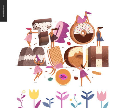 Dessert font - modern flat vector concept digital illustration of temptation font, sweet lettering and girls. Caramel, toffee, biscuit, waffle, cookie, cream and chocolate letters. Lettering Too much