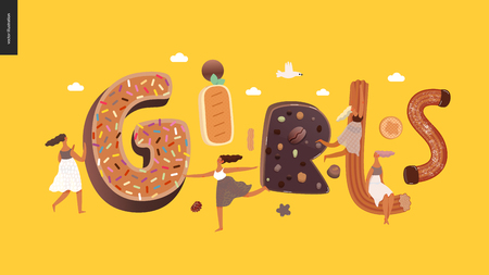 Dessert lettering - Girls - modern flat vector concept digital illustration of temptation font, sweet lettering and girls. Caramel, toffee, biscuit, waffle, cookie, cream and chocolate letters