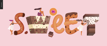Dessert lettering - Sweet - modern flat vector concept digital illustration of temptation font, sweet lettering and girls. Caramel, toffee, biscuit, waffle, cookie, cream and chocolate letters