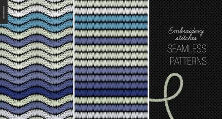 Embroidery satin stitch seamless patterns - two textile patterns of satin stitch Vettoriali