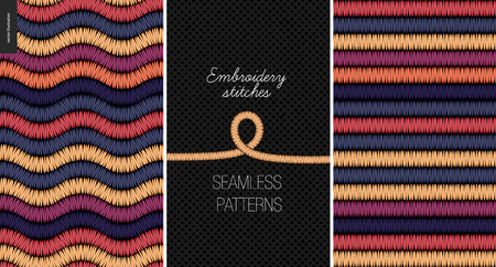 Embroidery satin stitch seamless patterns - two textile patterns of satin stitch Illustration