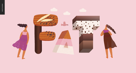 Dessert lettering - Fat - modern flat vector concept digital illustration of temptation font, sweet lettering and girls. Caramel, toffee, biscuit, waffle, cookie, cream and chocolate letters Ilustrace