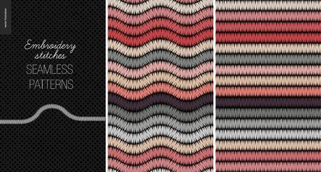 Embroidery satin stitch seamless patterns - two textile patterns of satin stitch  イラスト・ベクター素材