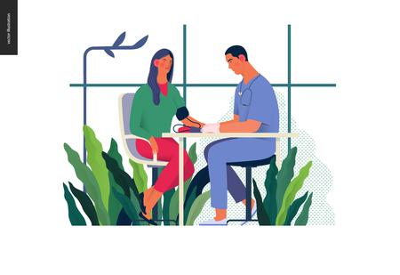 Ilustracja testów medycznych - badanie ciśnienia krwi - nowoczesna koncepcja płaski wektor cyfrowa ilustracja procedury pomiaru ciśnienia krwi - pacjent i lekarz z miernikiem, gabinetem lekarskim lub laboratorium