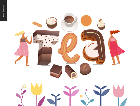 Dessert font - modern flat vector concept digital illustration of temptation font, sweet lettering and girls. Caramel, toffee, biscuit, waffle, cookie, cream and chocolate letters. Lettering Tea