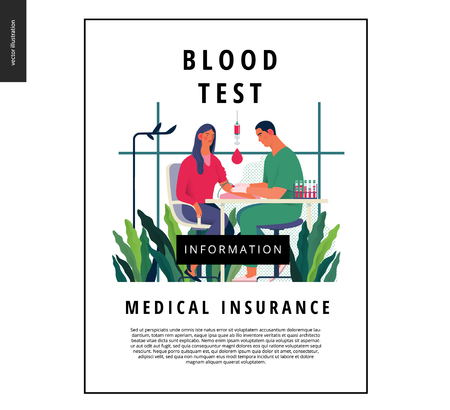Medical tests template - blood test - modern flat vector concept digital illustration of blood test procedure - a patient and doctor with a syringe and test tubes, the medical office or laboratory