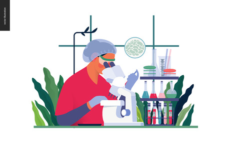 의료 테스트 템플릿 - 화학 실험실 분석 - 현대 평면 벡터 개념 실험실 분석의 디지털 그림 - 현미경, 의료 사무실 또는 실험실과 여성 실험실 지원