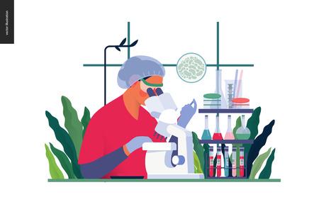 Modello di test medici - analisi di laboratorio chimico - moderno concetto vettoriale piatto illustrazione digitale di analisi di laboratorio - assistenza di laboratorio donna con microscopio, studio medico o laboratorio