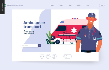 modern flat concept digital illustration of a male paramedic and ambulance van.
