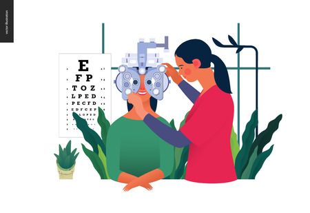 Medical tests template. Eye tests and prescription glasses