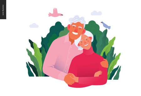 Medical insurance template, senior citizen health plan -modern flat vector concept digital illustration of a happy elderly couple, medical insurance plan. Ilustração