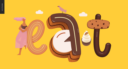 Dessert lettering - Eat - modern flat vector concept digital illustration of temptation font, sweet lettering and girls. Caramel, toffee, biscuit, waffle, cookie, cream and chocolate letters