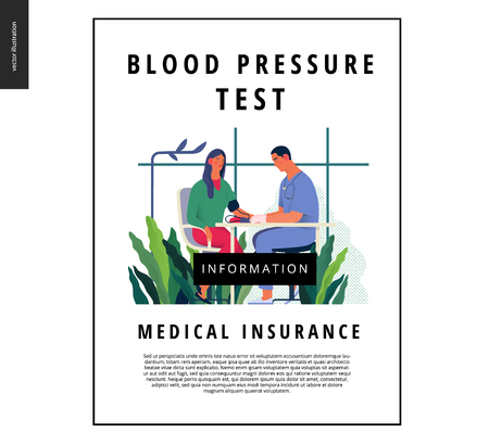 Medical tests template - blood pressure test - modern flat vector concept digital illustration of blood pressure measurement procedure - a patient and doctor with a meter, medical office or laboratory Ilustração