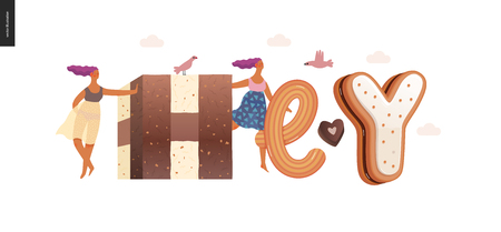 Dessert lettering - Hey - modern flat vector concept digital illustration of temptation font, sweet lettering and girls. Caramel, toffee, biscuit, waffle, cookie, cream and chocolate letters Ilustração