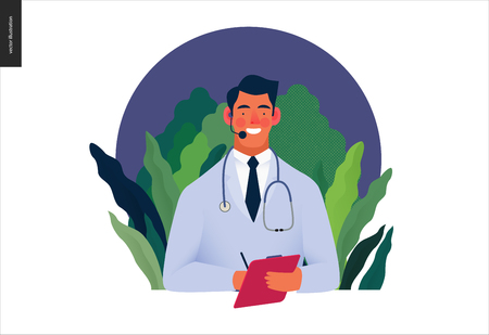 Medical insurance template -help 24 per 7, call us -modern flat vector concept digital illustration of male doctor with headset talking on the phone for a medical consultation. Medical company service Ilustração