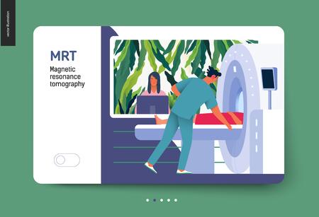 Plantilla de exámenes médicos - MRT - tomografía por resonancia magnética - ilustración digital del concepto de vector plano moderno del procedimiento de resonancia magnética - un paciente en el escáner y médico, consultorio médico o laboratorio