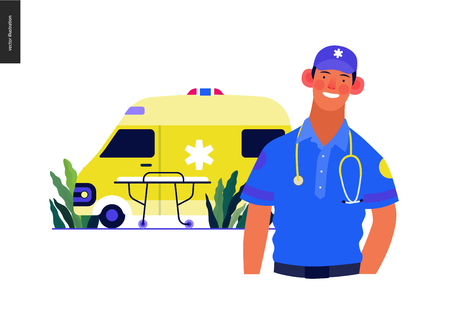 Medical insurance template -ambulance transport and emergency evacuation -modern flat vector concept digital illustration of a male paramedic and ambulance van. Medical service and insurance Vektorové ilustrace