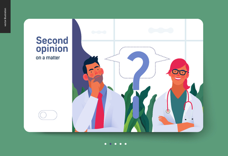 Medical insurance template -second opinion on a matter -modern flat vector concept digital illustration of two doctors and a question mark, second medical opinion metaphor, medical insurance plan Ilustração