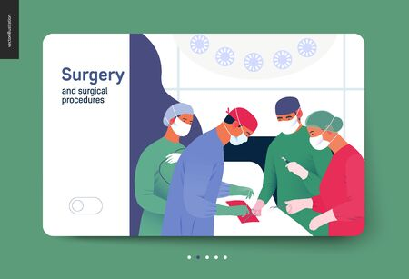 modern flat vector concept digital illustration, surgeons and oprationg nurses on surgical operation in operating room, team of doctos concept