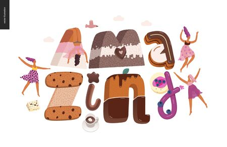 Dessert lettering - Amazing - modern flat vector concept digital illustration of temptation font, sweet lettering and girls. Caramel, toffee, biscuit, waffle, cookie, cream and chocolate letters 向量圖像