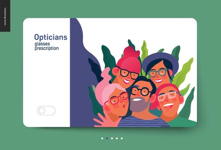 Medical insurance template - opticians shop advertising poster panel - modern flat vector concept digital illustration of young people wearing glasses portraits - commercial banner illustration Ilustração