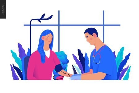 modern flat concept digital illustration of blood pressure measurement procedure - a patient and doctor with a meter, medical office or laboratory