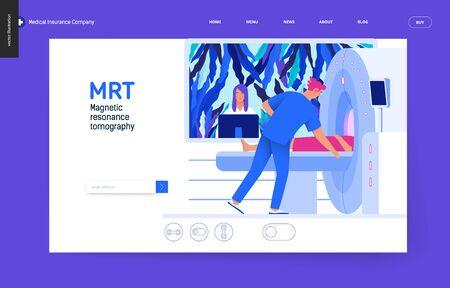 Ilustración digital de concepto plano moderno del procedimiento de resonancia magnética: un paciente en el escáner y un médico, consultorio médico o laboratorio