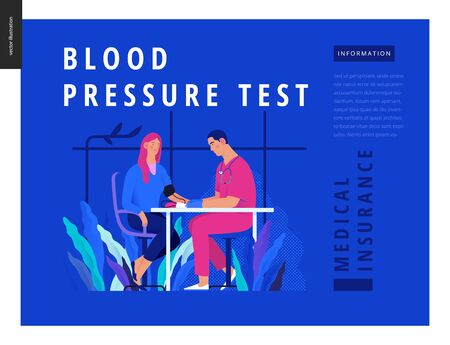 Medical tests Blue - blood pressure test - modern flat vector concept digital illustration of blood pressure measurement procedure - a patient and doctor with a meter, medical office or laboratory