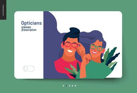 modern flat concept digital illustration of a young couple wearing glasses - commercial banner illustration Ilustração