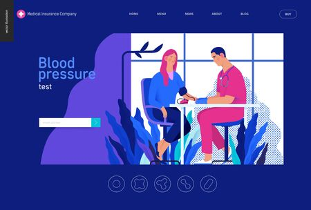 Medical tests Blue - blood pressure test - modern flat vector concept digital illustration of blood pressure measurement procedure - a patient and doctor with a meter, medical office or laboratory Banco de Imagens - 127653939