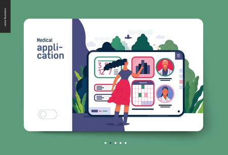 Medical insurance - medical application -modern flat vector concept digital illustration - female user managing the schedule in the hospital application on the tablet