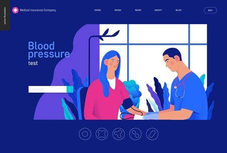 modern flat concept digital illustration of blood pressure measurement procedure