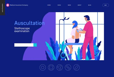 modern flat concept digital illustration of stethoscope examination procedure Banco de Imagens - 127653940