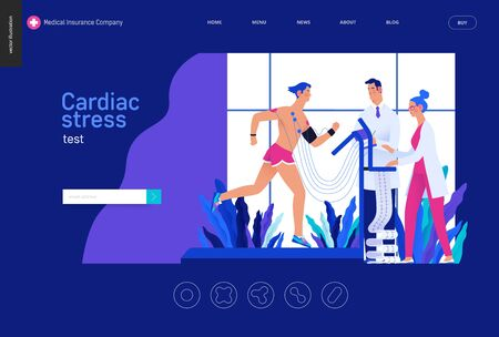 Modern flat concept digital illustration, stress test procedure -patient with sensors on treadmill, doctors carrying out procedure, laboratory Ilustração
