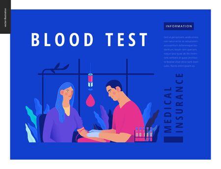 modern flat concept digital illustration of blood test procedure Banco de Imagens - 127653946