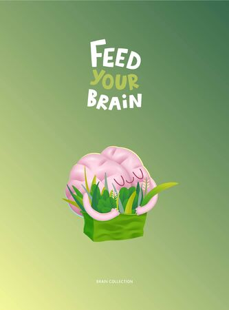 Feed your brain poster - a vector cartoon illustration of enjoining brain hugging a bag of greens with writing. Part of a Brain collection. Ilustração