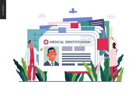 Illustration d'assurance médicale - carte d'identité médicale, carte de santé - illustration numérique de concept de vecteur plat moderne - une carte d'identité en plastique comme métaphore de fichier de dossiers médicaux