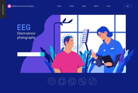 Medical tests template Blue - EEG - electroencephalography - modern flat vector concept digital illustration of encephalography procedure - a patient with head electrodes and doctor in medical office Ilustração
