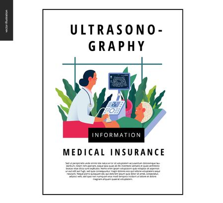 Medical tests template - ultrasound - modern flat vector concept digital illustration of ultrasonography procedure -doctor examing patient pregnant woman with scanner, medical office or laboratory