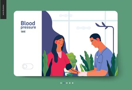 Medical tests template - blood pressure test - modern flat vector concept digital illustration of blood pressure measurement procedure - a patient and doctor with a meter, medical office or laboratory Banco de Imagens - 127653948