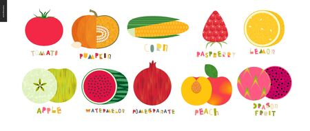 Food patterns - vegetable and fruit, flat vector illustration with lettering - tomato, pumpkin, corn, raspberry, lemon, apple, watermelon, pomegranate, apricot, dragon fruit