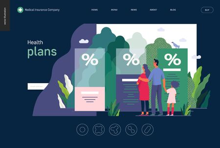 Health plans - medical insurance template -modern flat vector concept digital illustration - a young family expecting a baby with a kid choosing a health insurance plan Ilustração