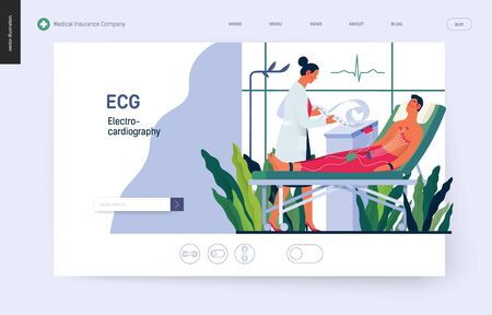 Medical tests template -ECG test -modern flat vector concept digital illustration of electrocardiography procedure -patient with sensors and doctor carrying out procedure, medical office or laboratory