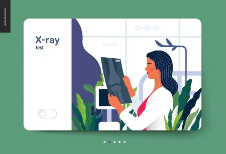 Medical tests template - x-ray test - modern flat vector concept digital illustration of x-ray image - a doctor looking at the radiograph , in the medical office or laboratory